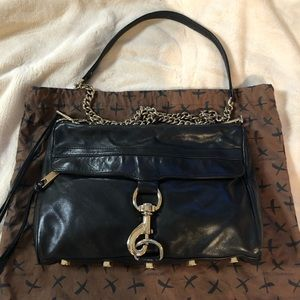 Black leather Rebecca Minkoff M.A.C. crossbody bag